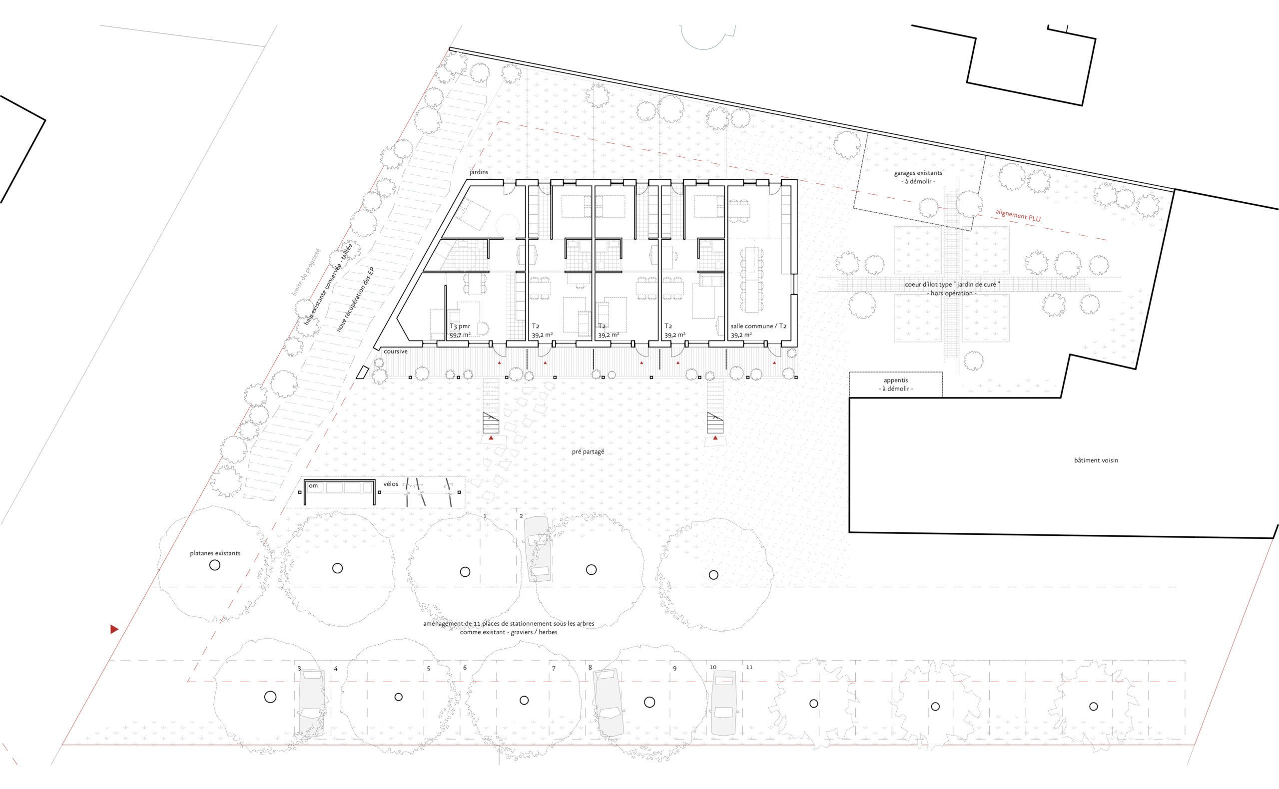 logements sociaux - plan du Rez-de-Chaussée